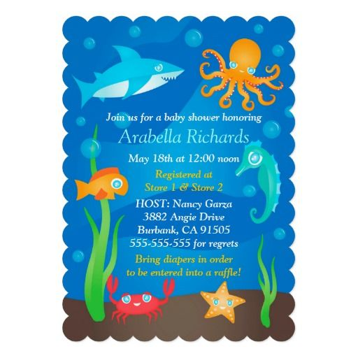 An Adorable Baby Shower Invitation With An Under The Sea Theme. The Design  Is Ultra