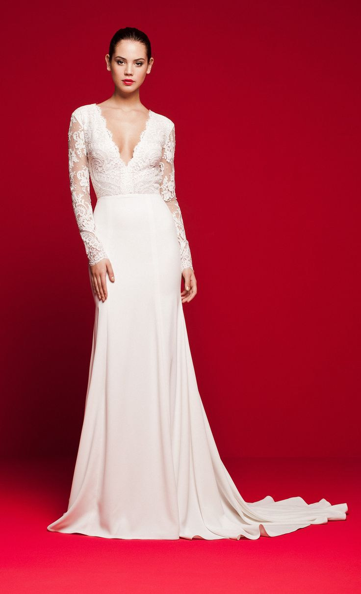 LVS 332 Mermaid wedding gown with long-sleeved corded lace top