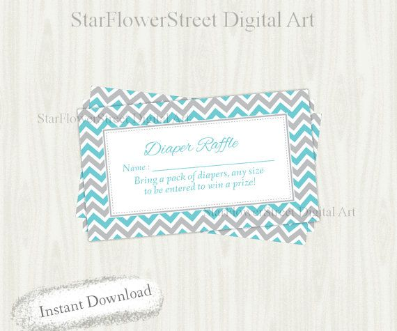 Diaper Raffle printable blue gray grey by StarFlowerStreetDA
