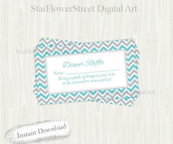 Diaper Raffle printable blue gray grey by StarFlowerStreetDA