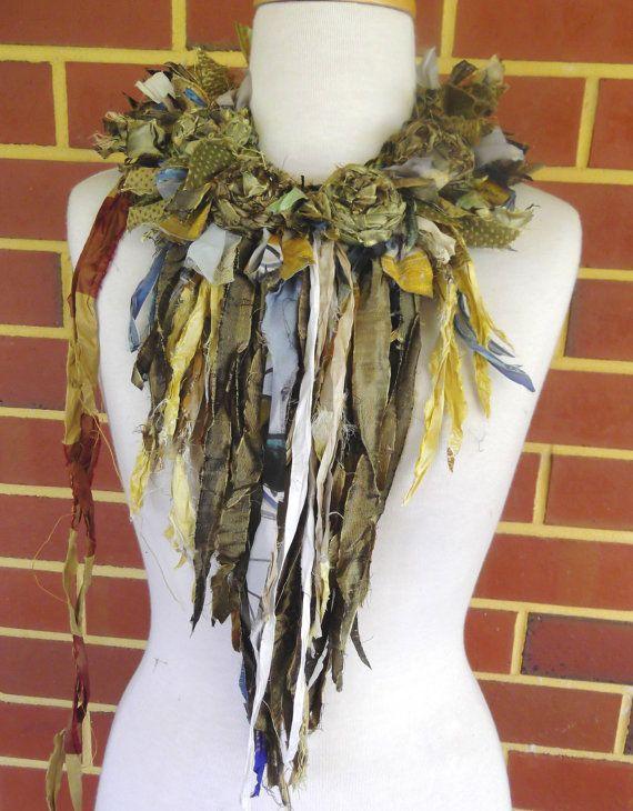 Recycled Sari Silk  Rosette Statement Necklace wearable art fiber art olive bronze