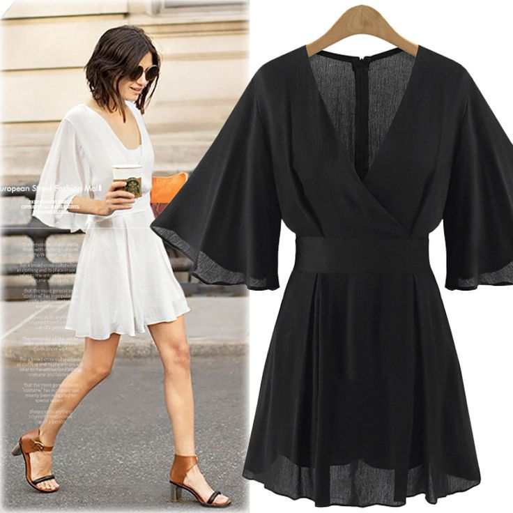 Plus Size Playsuits 3XL 4XL 5XL Summer Solid Womens Playsuit Casual One Piece Jumpsuit V-neck Flare Sleeve Chiffon Jumpsuit