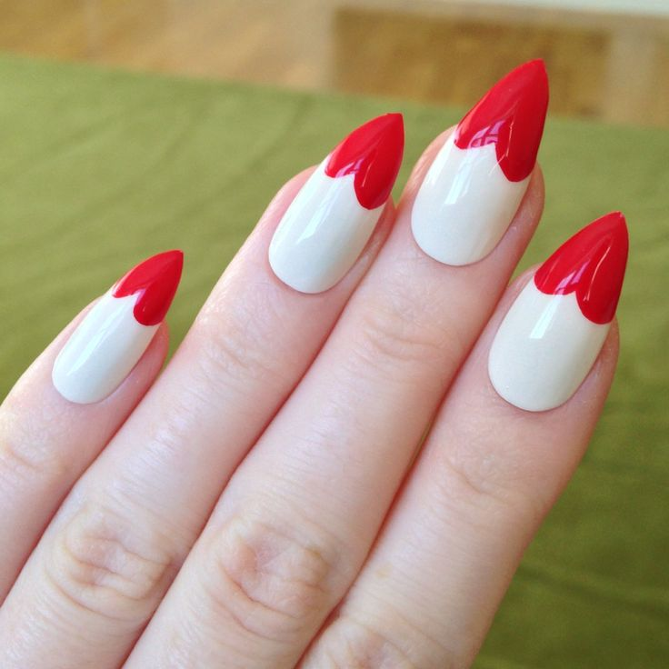 Sexy And Trendy White Base Red Heart Tip Stiletto False Nails