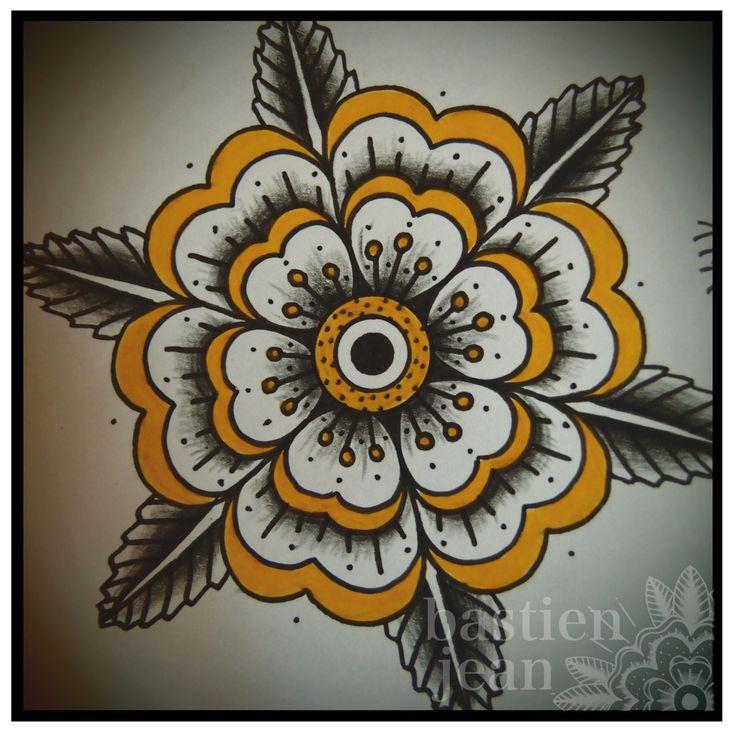 Geometric flower. Bastien Jean, for a tattoo hand