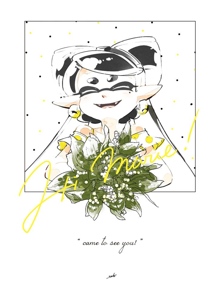 1girl aori_(splatoon) artist_name black_hair bouquet closed_eyes commentary cursive domino_mask earrings english fangs flower highres holding jewelry lily_of_the_valley long_hair looking_at_viewer mask off_shoulder open_mouth pointy_ears portrait seto_(asils) signature smile solo splatoon tentacle_hair