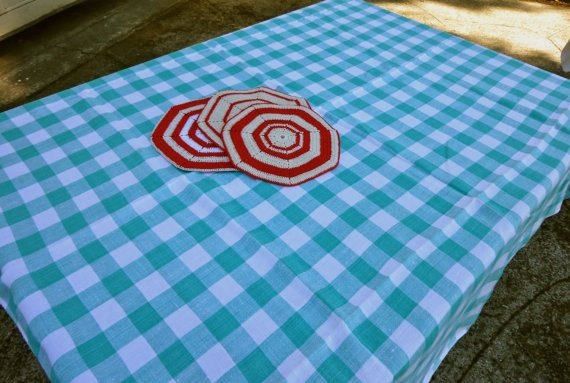 Vintage Picnic Tablecloth Classic Jadite Teal Check by VintagePDX, $24.00