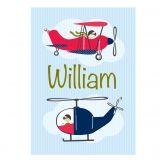 Vintage Plane & Helicopter Personalised Print
