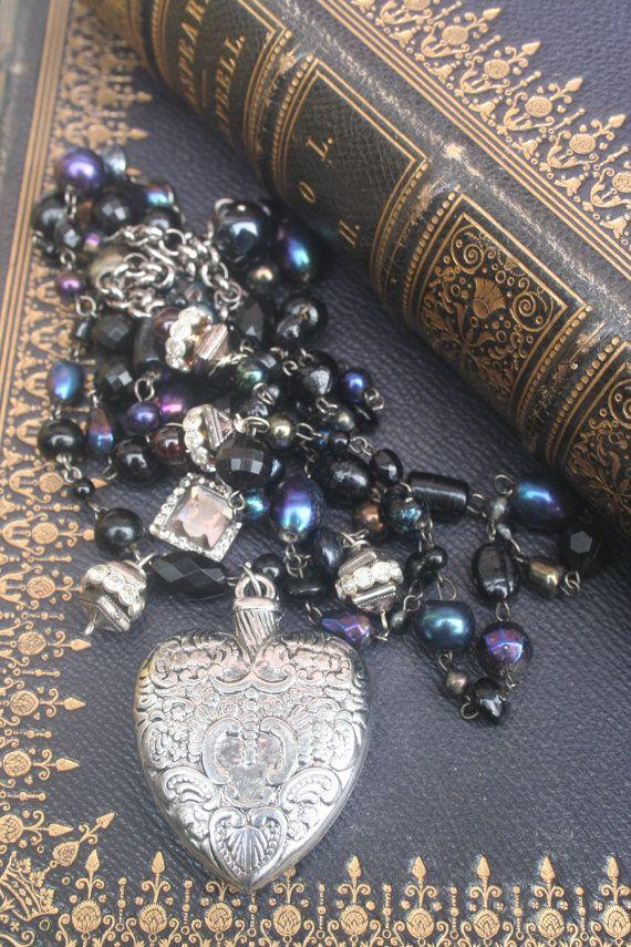 Ex Voto Heart necklace Heart Assemblage jewelry Vintage