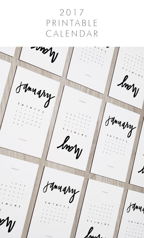 Free Hand Lettered 2017 Calendar Printable