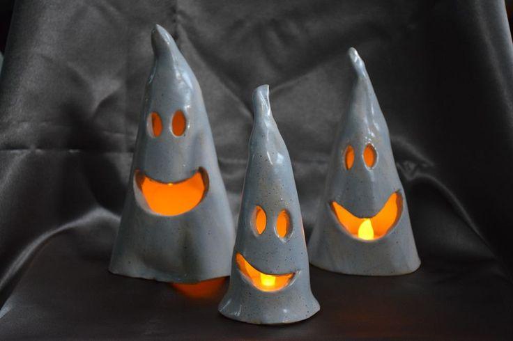 Ceramic ghosts, Halloween ghosts, Halloween decoration, spooky ghosts, tea light…