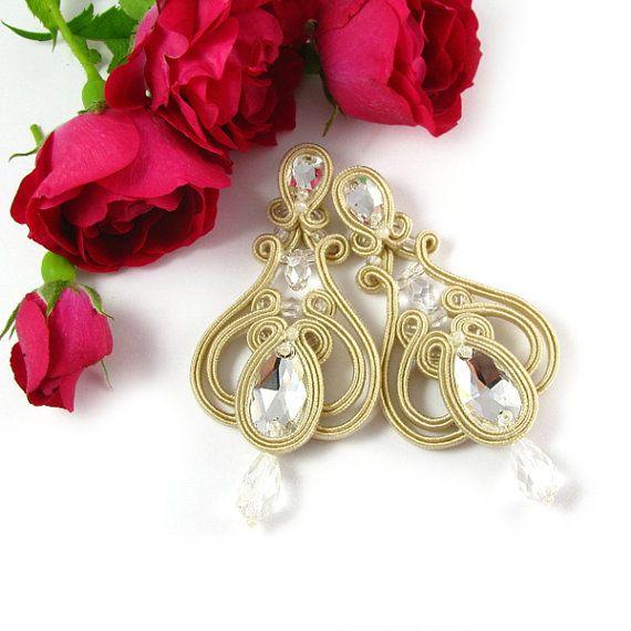 Bridal soutache earrings wedding earrings, hochzeit ohrringe, boucles d'oreilles mariage, pendientes de boda, orecchini di nozze