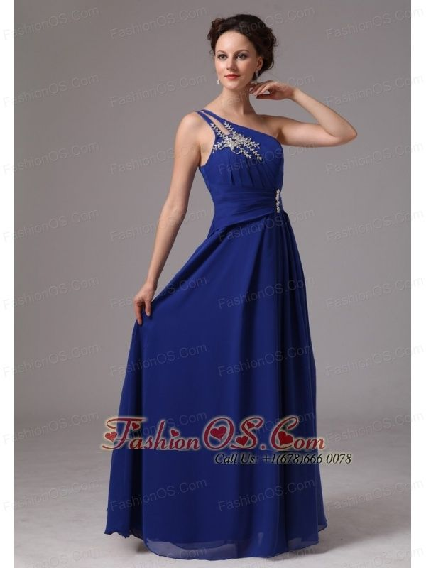 Royal Blue One Shoulder Appliques Prom / Evening Dress For Prom Party In Lithonia Georgia- $138.25  http://www.fashionos.com  http://www.facebook.com/wedding.fashionos.us  This luxurious yellow evening gown will make you sparkle at prom. This stunning dress features a gorgeous one shoulder bodice that's heavily embellished with intricate appliques and exquisite ruching waistband with decoration. The floor length skirt is so smooth and elegant.