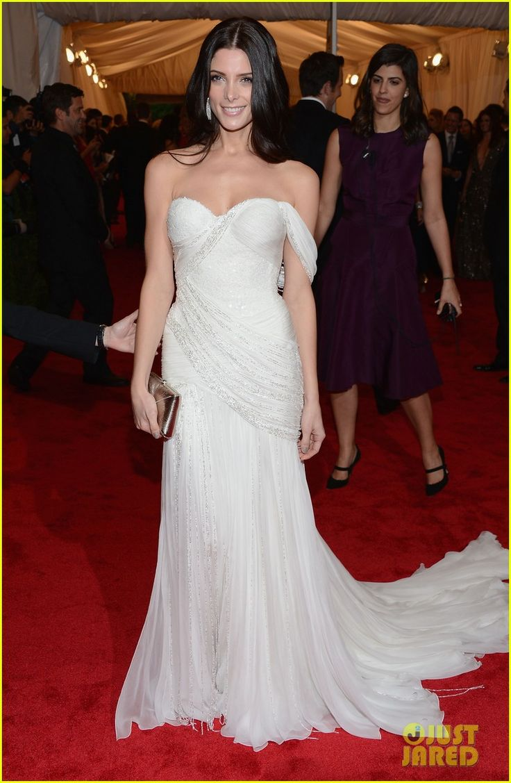 Ashley Greene is gorgeous in a Donna Karan Atelier white grecian gown at the 2012 Met Ball