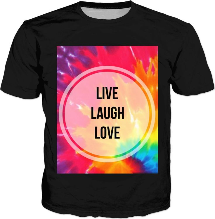 On Sale♡ 'Live Love Laugh' tie dye inspirational quote black t-shirt, designed for the hippie and Boho Free Spirit  #quotes #inspirational #live #laugh #love #tie @dye #hippie #fashion #afflink #colourful #happy #feel #good