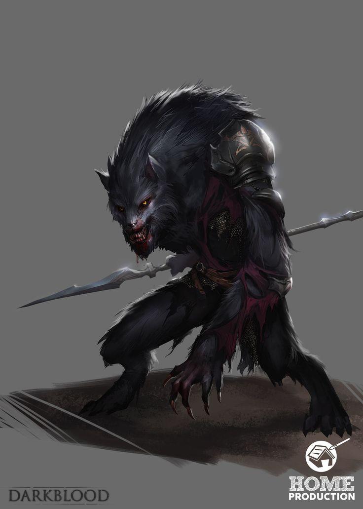 Darkblood - Werewolf Homunculus, Damien Sim on ArtStation at https://www.artstation.com/artwork/darkblood-werewolf-homunculus