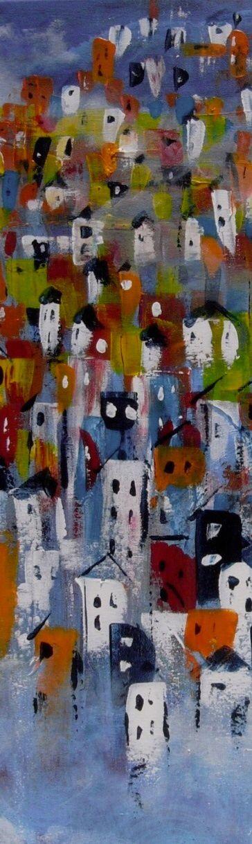 Houses in Acrylic 80x40cms canvas