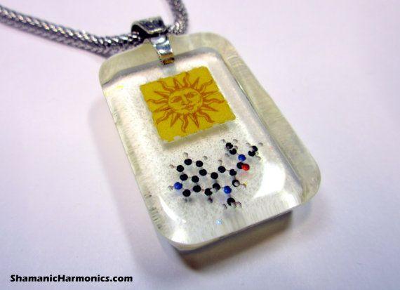 LSD Blotter Art  Eco-Pendant with LSD Molecule- Orange Sunshine - Glows blue in the Dark- Psychedelic Gift for Him or Her Christmas Hanukkah