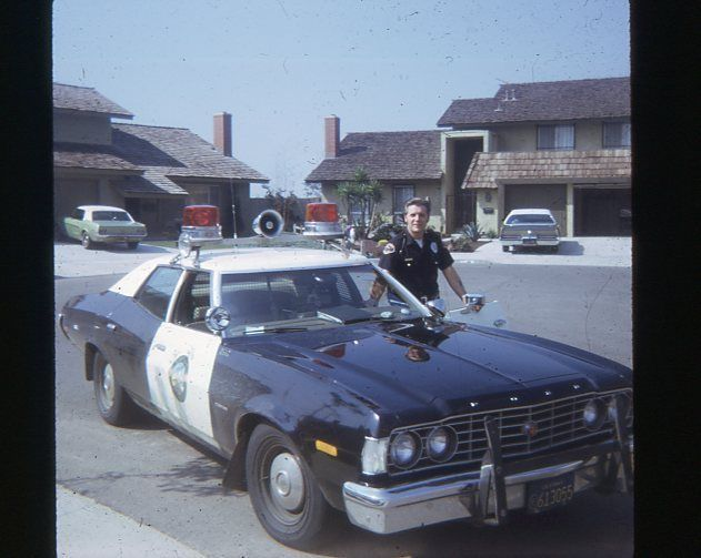 1973 Ford Gran Torino Police Cruiser With Officer Cop Vintage