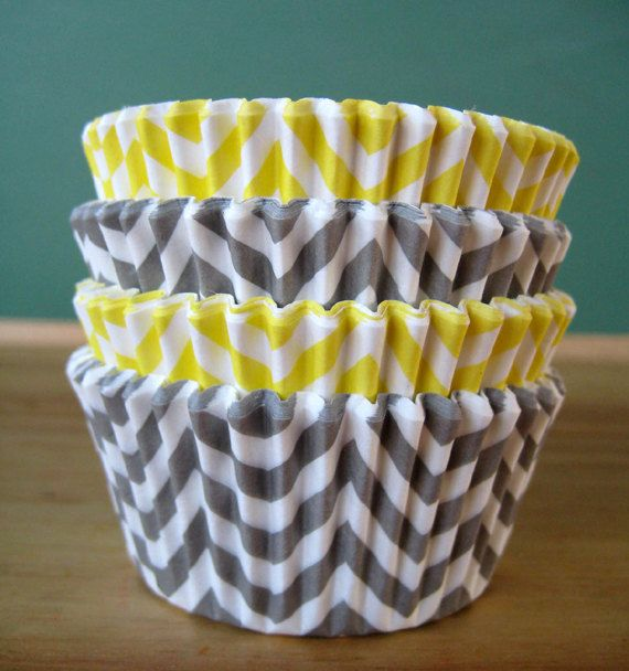 Yellow and Gray Chevron Cupcake Liners - Set of 40 - Chevron Baking Liners. $3.15, via Etsy. #spring