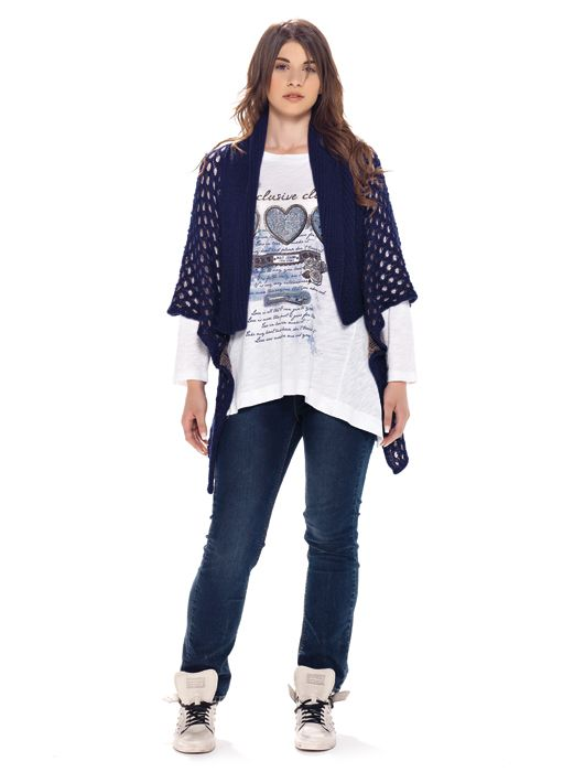 mat. F/W2014/15.  Cardigan with metallic-knitted texture, Soft-cotton top with heart motifs & Jeans slim winter blue (Vesna Trend)