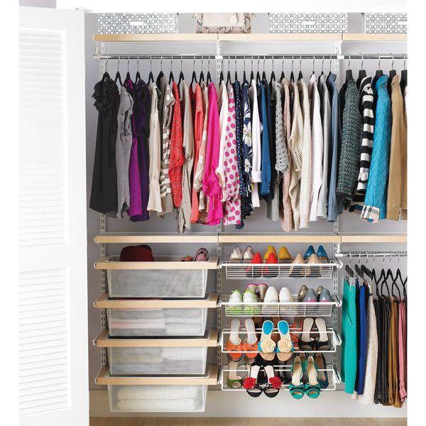 Birch White Elfa D Cor Reach In Clothes Closet Closet