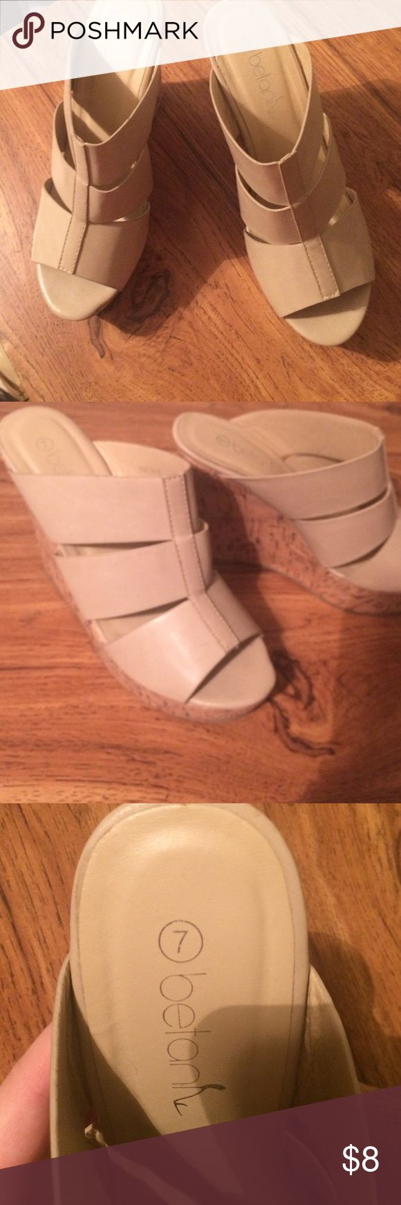 Beige Strappy Peeptoe Wedges Super cute, looks great in spring/summer. Surprisingly comfortable, in great condition. Betan Shoes Wedges