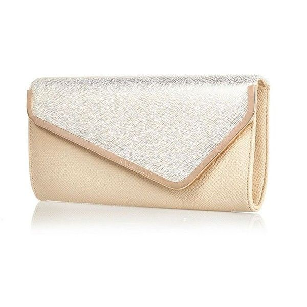 River Island Light beige metal trim asymmetric clutch bag found on Polyvore featuring bags, handbags, clutches, bolsas, clutch bags, bags / purses, beige, women, river island handbags and beige handbags