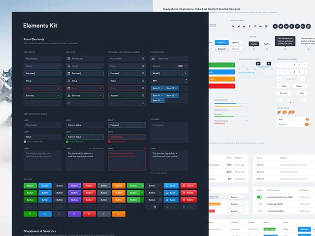 Elements: Dashboard UI kit for Photoshop and Sketch