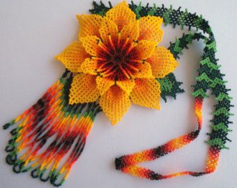 Mexican Huichol Beaded flower Necklace by Aramara on Etsy