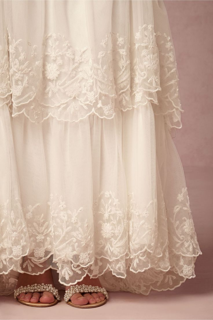 ethereal, lace tiered wedding dress for the bohemian bride | Zora Wedding Gown from BHLDN