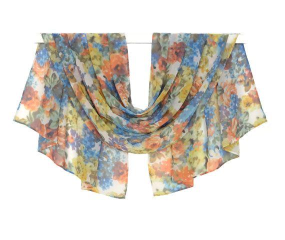 Pastel Scarf Chiffon Scarf Print Scarf Silk by AnnushkaHomeDecor