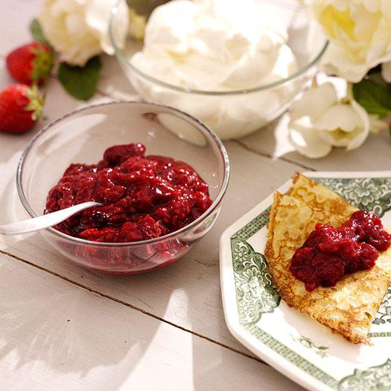 Jordbær-hindbærsyltetøj (dybfrosne bær)