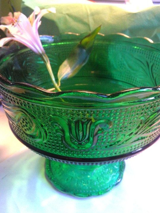 Green Brody glass pedestal dish by FunkyPoodles on Etsy, $32.00