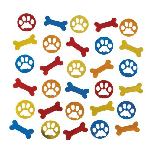 Puppy Confetti Scatters.  SO cute!  Make your puppy or dog themed party table shimmer, with this fun-shaped confetti.