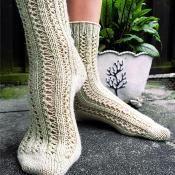 Double Lace Rib Toe-up Sock
