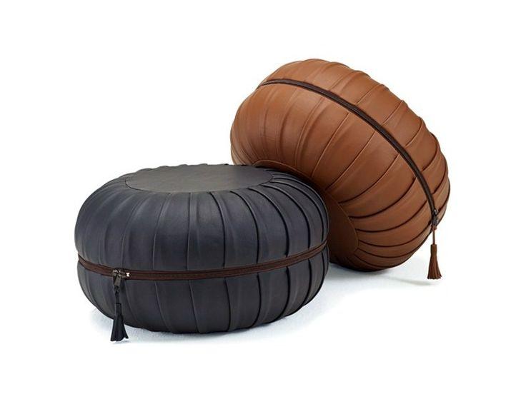 Pouf rembourré en cuir avec revêtement amovible ANNA by FREIFRAU design Anne Lorenz