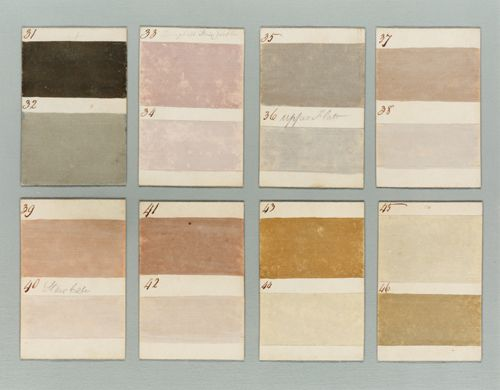 These sample cards from 1807 show some of the distemper colors that could have been selected for Scotland's Barnbarroch House.