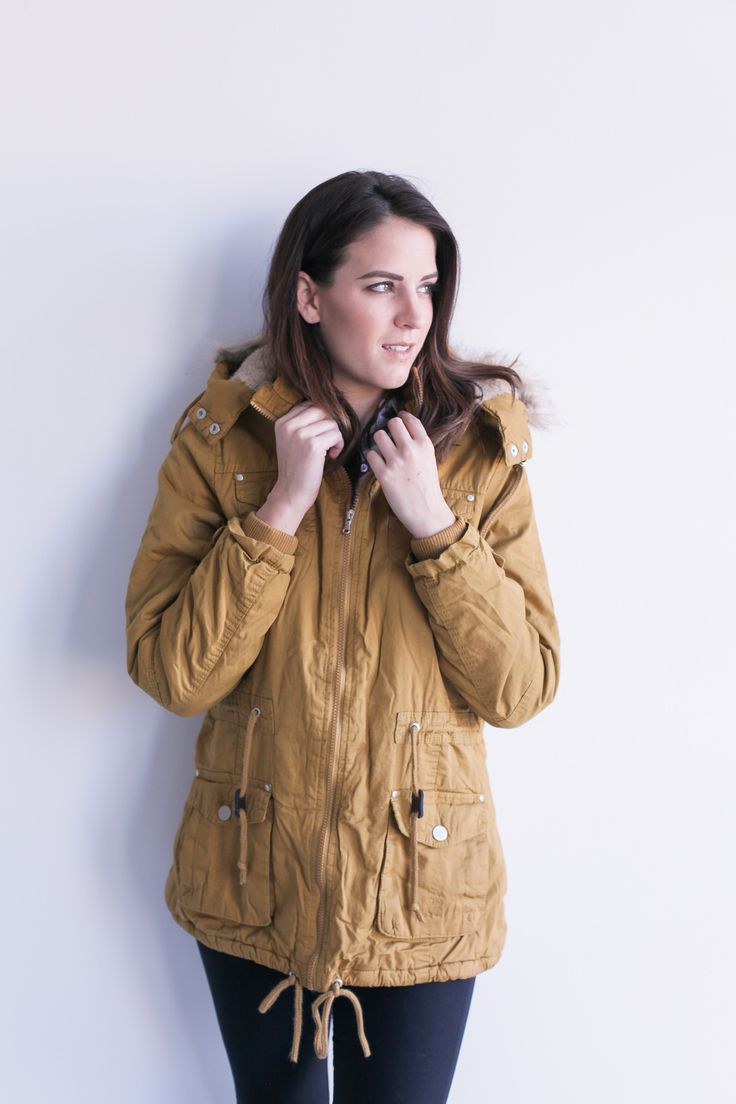 Womens Parka with Faux-Fur Trim Hood.