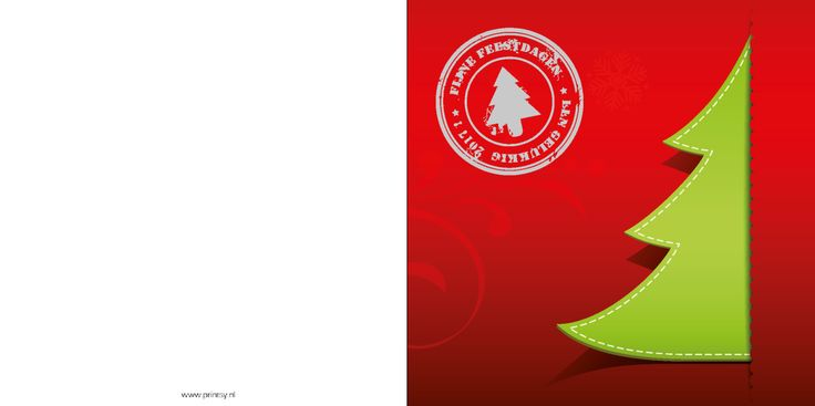Kerstkaarten: Trendy kerstboom op rode achtergrond met stempel tekst - voorkant  personaliseer je eenvoudig en bestel je met 50% korting op www.printsy.nl
