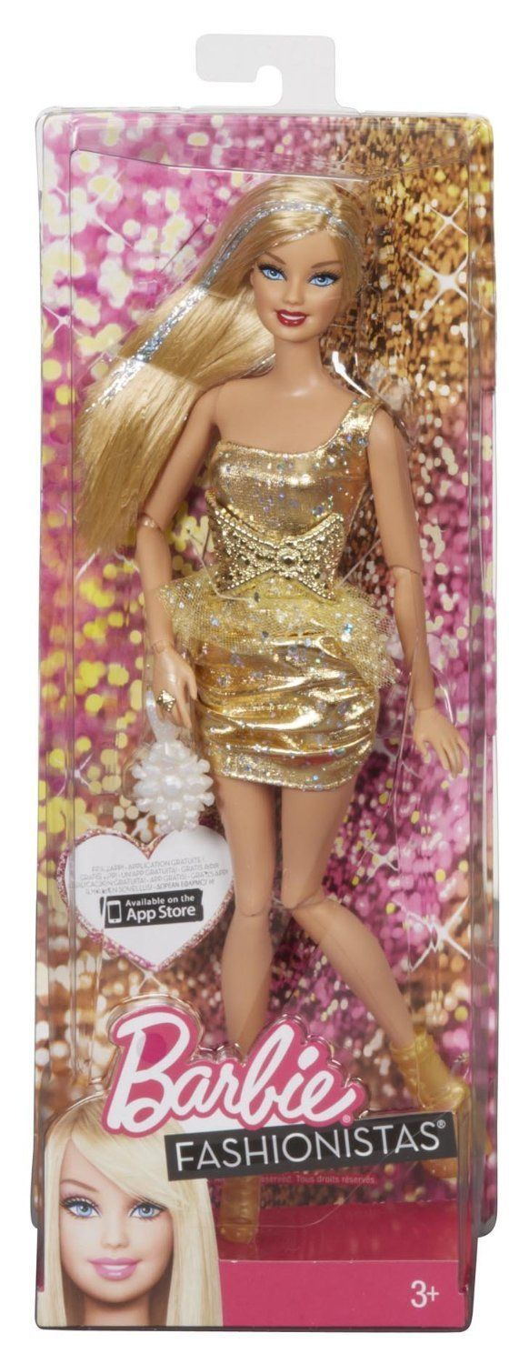 2012 BARBIE FASHIONISTAS DOLL with SILVER STREAKS GLITTER HAIR GOLD SPARKLE DRESS Y7488