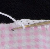 Use the Sharp Crochet Hook to crochet edgings through fabric, no hemstitching needed!.