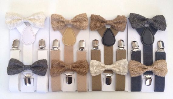 Suspender Bowtie set Burlap Baby bow tie Suspenders Jute Boys Bowties Tan Toddler Necktie Gray Mens bowtie Wedding Ring Bearer Outfit Rustic