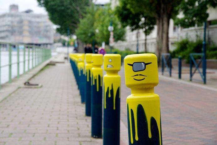 Street Art - Urban / LEGO Spray Paint on Parking Bollard ... Traffic Cone On Road
