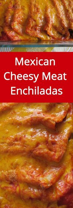 Mexican Cheesy Meat Enchiladas - hot, yummy, with melted cheese - love these! | MelanieCooks.com