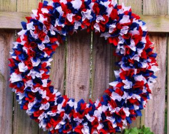 Patriotic Wreath Felt Wreath Fourth of July Wreath by FairyMojo
