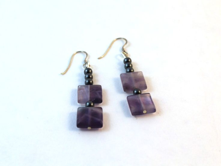 Amethyst and Hematite earrings. See how to make them in my easy earring tutorial.
