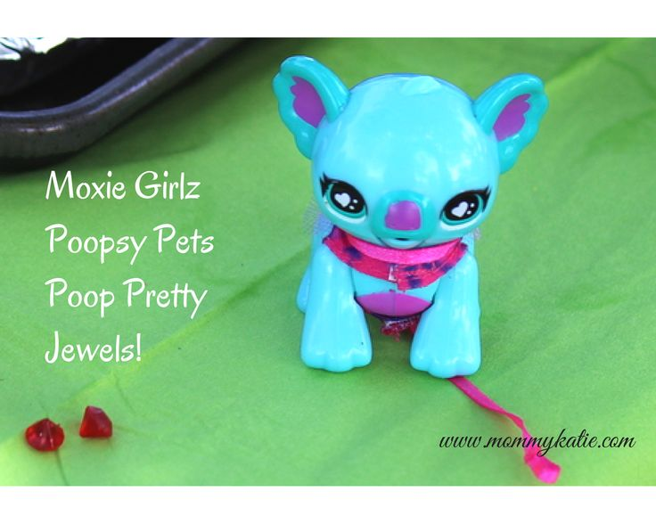 "With the Moxie Girlz Poopsy Pet, kids can have the doll take the adorable pet for walks around the house, then feed the pet rainbow jewels and clean up after her pet after he makes a ""poopsy"" that is made of those same jewels!"