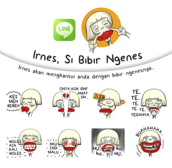 Irnes akan menghantui anda dengan bibir ngenesnya :D http://line.me/S/sticker/1214898