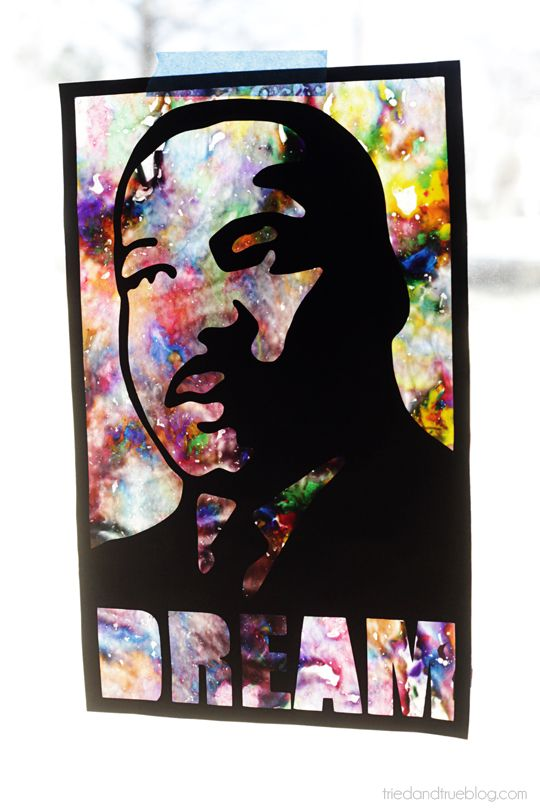 I love this idea! You can actually get the stencil to use if you follow the link on this pin. Just click on the photo an then scroll down t download the pdf! Martin Luther King Day Window Art | Tried & True