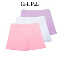 Shorts for wearing under skirts. They fit close very comfortable. I highly recommend these for our little ones who do not do well in skirts! 3 for $25